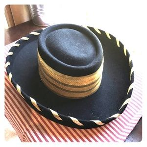 Black & Gold Women's hat With Ribbon